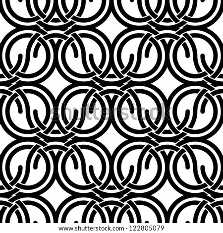 Geometric seamless pattern with circles and waves, black and white vector background. - stock vector
