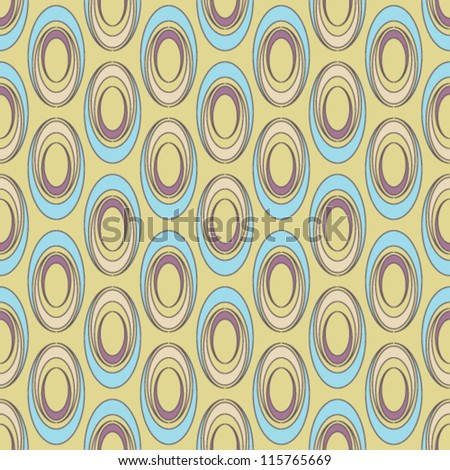 Geometric seamless pattern with colorful ovals on yellow background - stock vector