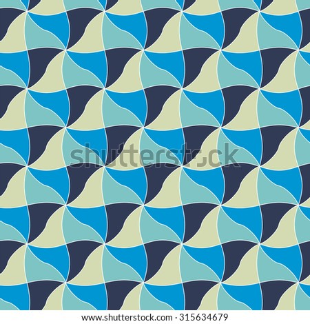 Geometric seamless pattern with wavy rhombus in blue colors. Vector bright background. Flat design. Easy to edit. EPS 8.