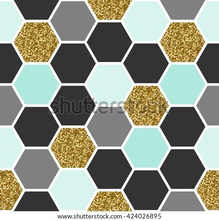 Geometric seamless repeating pattern with hexagon shapes in black, gold, gray and pastel blue. - stock vector