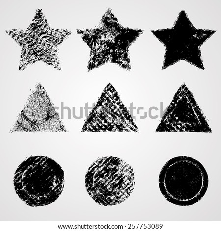 Geometric Shape Collection. Star, Triangle and Circle Stamp Forms. Distressed Texture. Vector Illustration.  - stock vector