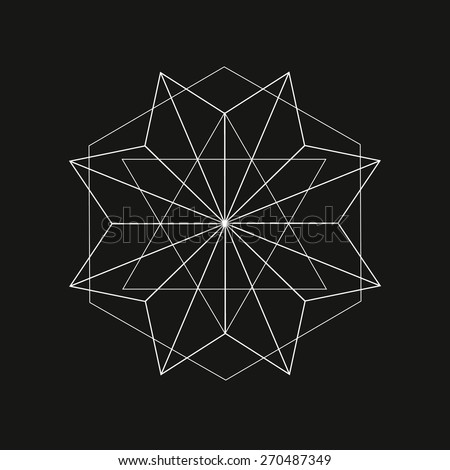 Geometric shape from triangles, line art design, tattoo, vector illustration eps 10 - stock vector