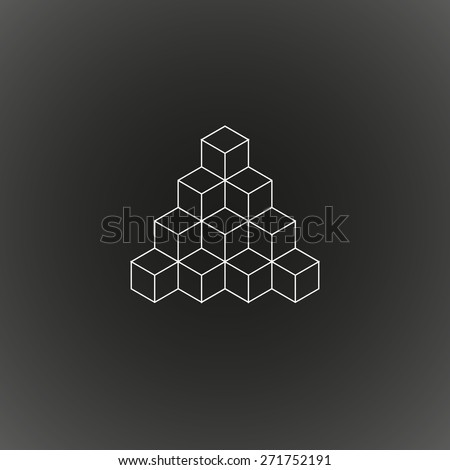 Geometric shape, polygonal, triangle created by 3D cubes, hipster logo pattern, vector illustration EPS 10 - stock vector