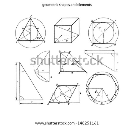 Geometric shapes and elements with dimensions -illustration - stock vector
