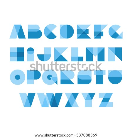 Geometric shapes font alphabet. Overlay transparent style letters. Transparency are flattened. Can be apply on any background. Easy color tint ability. - stock vector