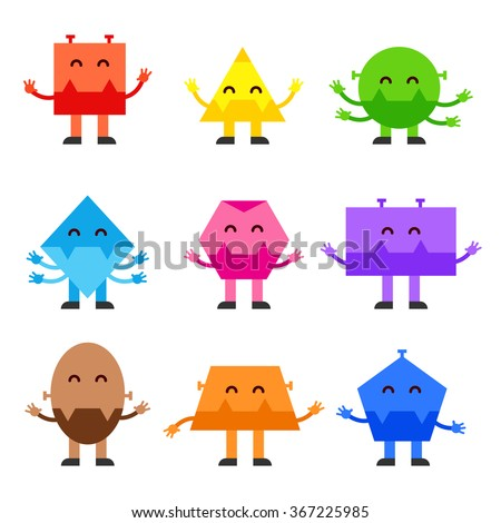Geometric shapes funny monsters cartoon vector character design for children Education games, kindergarten. Square. Circle, Triangle, Rhombus, Oval Rectangle Trapezium. Character shapes - stock vector - stock vector