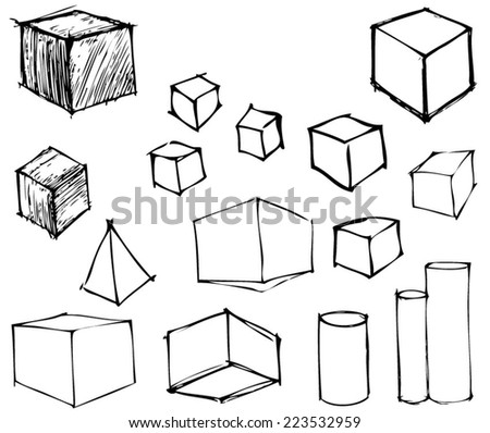 Geometric Shapes - Hand drawn. Vector Illustration. - stock vector