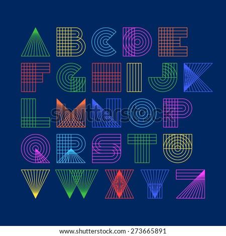 Geometric shapes linear alphabet. Vector. - stock vector