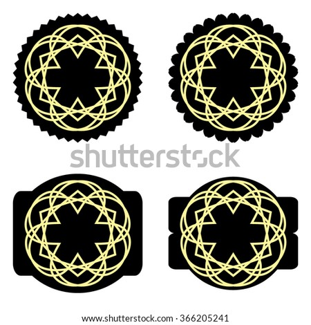 Geometric Shapes radial. Hipster Style Frames. Great for retro style projects. Abstract golden Vintage elements. Circular design elements spirograph. Vector templates - stock vector