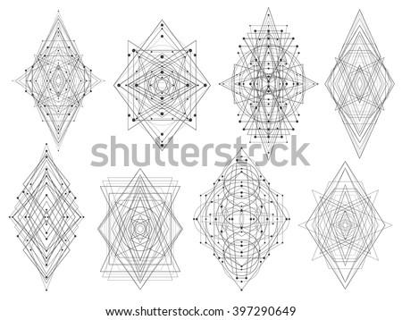 vector linear sacred geometry emblem set stock vector 381201061 shutterstock. Black Bedroom Furniture Sets. Home Design Ideas