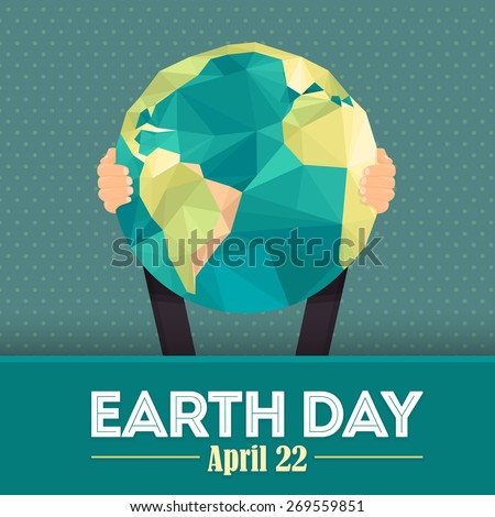 Geometric Shapes World Symbol Hold Hands Flat Vector Design, April 22 Earth Day Theme - stock vector