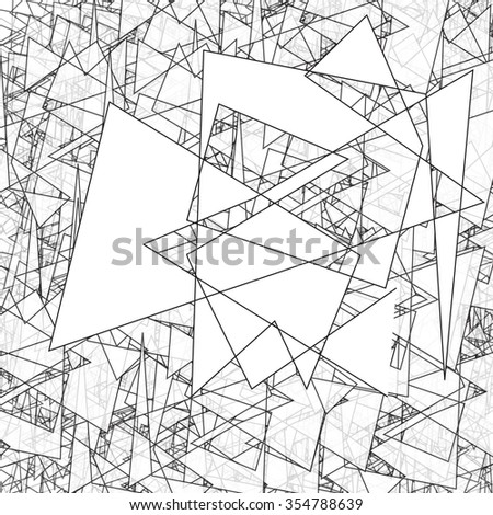 Geometric simple black and white minimalistic pattern triangles. Can be used as wallpaper, background or texture.  - stock vector