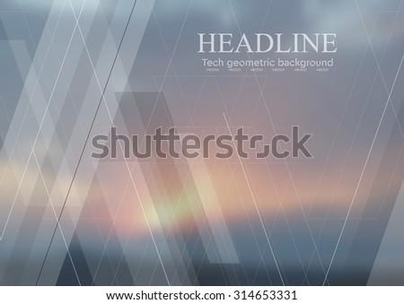 Geometric sky abstract tech background. Vector design - stock vector
