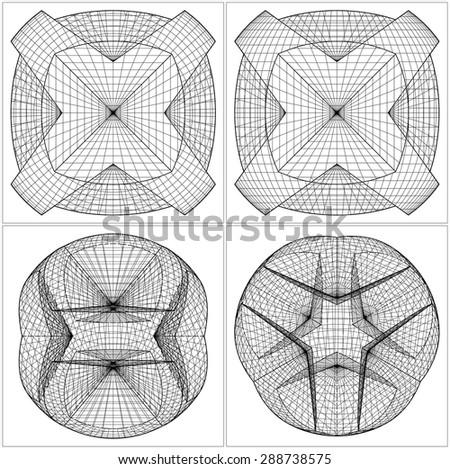 Geometric Sliced Sphere Vector 47 - stock vector