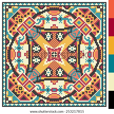 geometric square pattern for cross stitch ukrainian traditional embroidery, who like hand made and creation, pixel ornamental vector illustration - stock vector