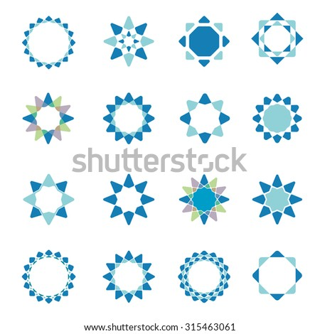 Geometric star vector logo template set  - stock vector