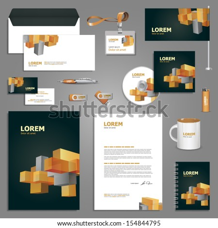 Geometric stationery template design with cube elements. Documentation for business. - stock vector