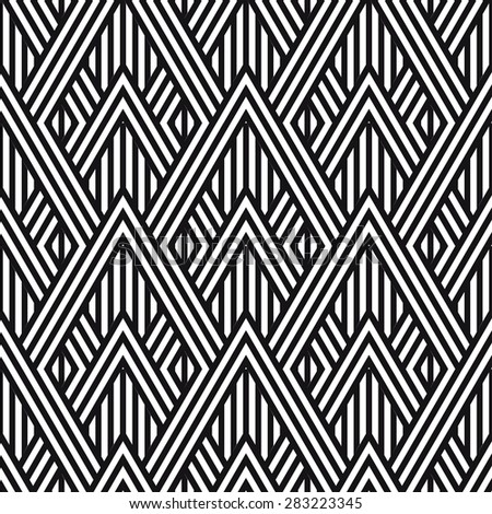 Geometric striped ornament. Vector seamless pattern. Modern stylish texture. Monochrome linear braids - stock vector