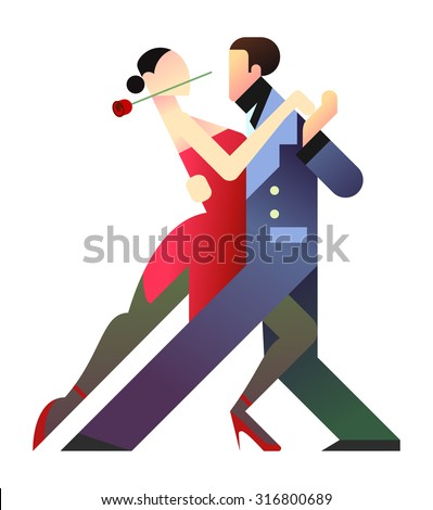 geometric style illustration of two tango dancers. The woman on the left with a rose in the mouth and a sensual red dress; the man on the left with a blue elegant dress. isolated figures.