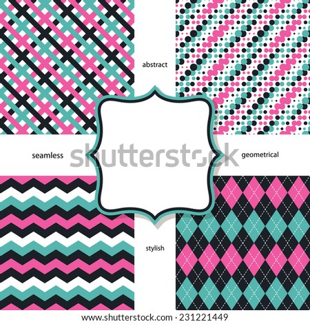 Geometric stylish seamless pattern set. - stock vector