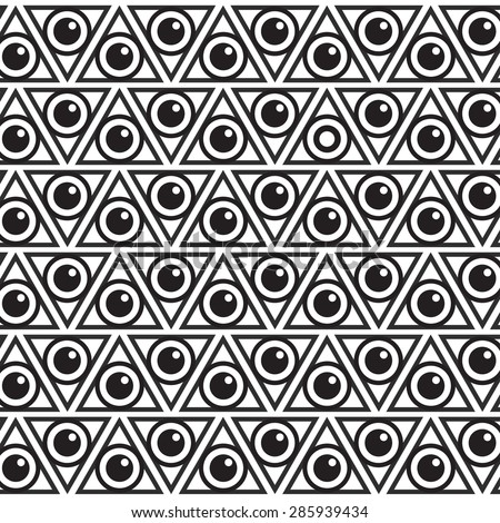 Geometric Supreme Black And White Hipster Background Texture Of Triangles With An Eye Watching You For