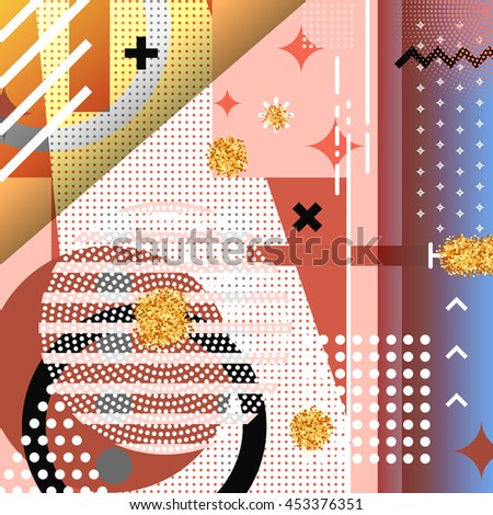 Geometric symbols background memphis for fashion. Pattern abstract elements, for postcards and poster design. Style hipster modern retro cover