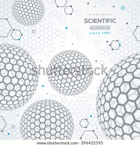 Geometric technology concept background. Scientific future backdrop. 3D abstract spheres, fullerene. Wireframe particles. - stock vector