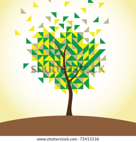 Geometric tree - stock vector