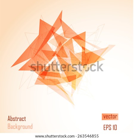 Geometric Triangular Abstract Modern orange Backgrounds - EPS10 Brochure Design Templates.Low poly design.