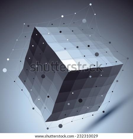 Geometric vector abstract 3D complicated lattice backdrop, contrast eps8 conceptual tech deformed cube. - stock vector