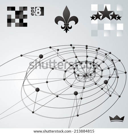 Geometric vector abstract 3D complicated lattice backdrop, single color eps8 conceptual tech illustration. - stock vector