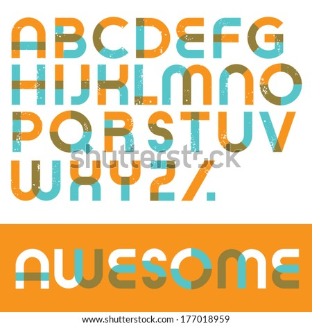Geometric vector font. Blended lines with scratches - stock vector