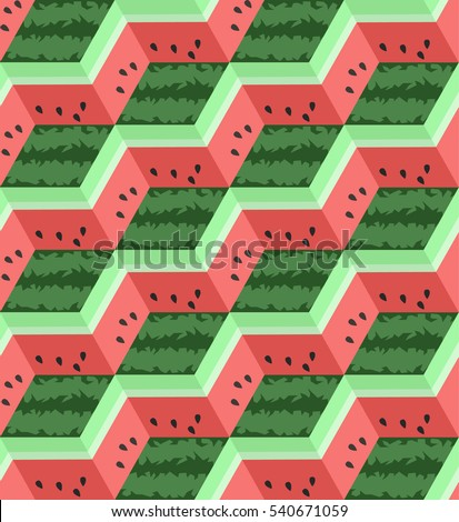 Geometric Vector Illustration with Watermelon. Flat Fruit Colorful Cube Background. Cubic Abstract Seamless Pattern