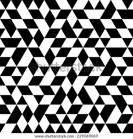 Geometric vector pattern with triangular black and white elements. Seamless abstract ornament for wallpapers and background - stock vector