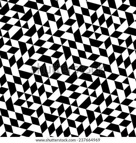 Geometric vector pattern with triangular elements. Seamless abstract ornament for wallpapers and backgrounds. Black and white colors - stock vector