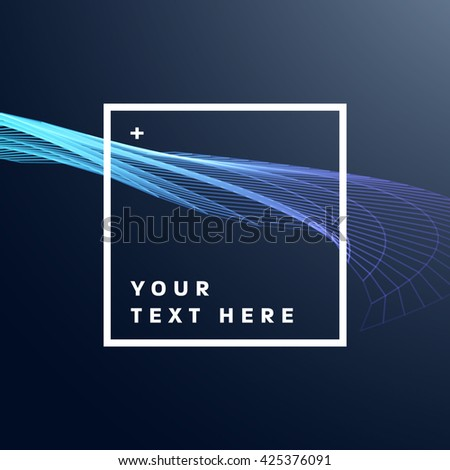 Geometric Vector Wave Background. Abstract Perspective Curve Lines Background