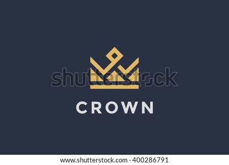 Geometric Vintage Crown abstract Logo design vector template. Vintage Crown Logo Royal King Queen symbol Logotype concept icon. - stock vector