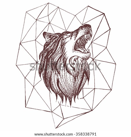 Geometric Vintage Wolf Predator Black And White Tattoo Decorative Retro Style Isolated Vector