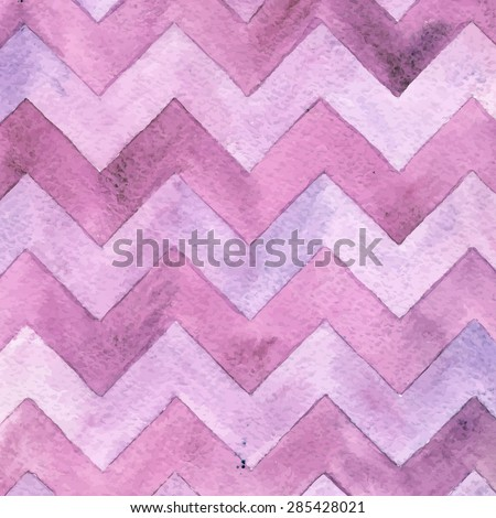 Geometric watercolor chevron pattern. Lilac background. Vintage card. - stock vector
