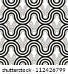 Geometric waves seamless pattern, monochrome vector background. - stock vector