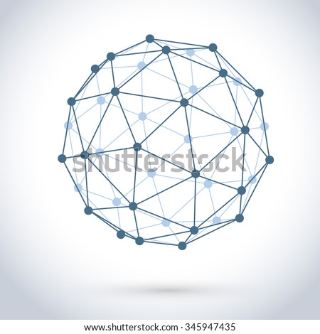 Geometric wire mesh sphere isolated on white background. - stock vector