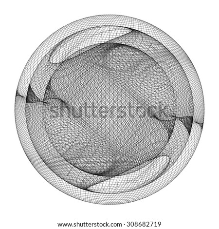 Geometric Wireframe Shape Vector 69 - stock vector