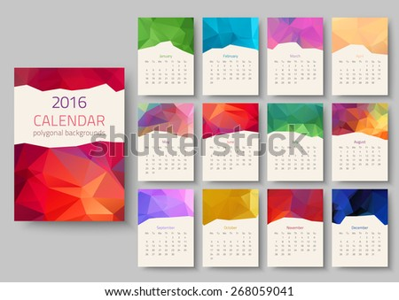 Geometrical calendar of 2016. Vector illustration - stock vector