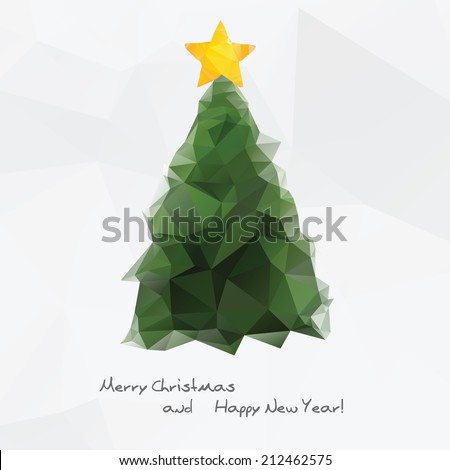Geometrical Christmas tree icon, colorful polygonal background - stock vector