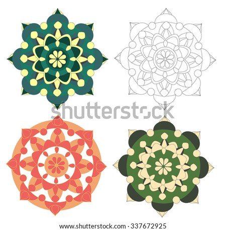 Geometrical elements in different colors