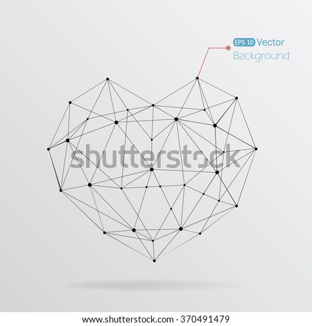 Geometrical heart background with lines - stock vector