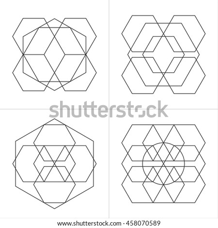 Geometrical line ornaments. Set of spiritual cosmic symbols. Natural philosophical patterns. Traditional art drawings. Harmonic nature logo. Temple theosophy signs. Awakened healing life illustration