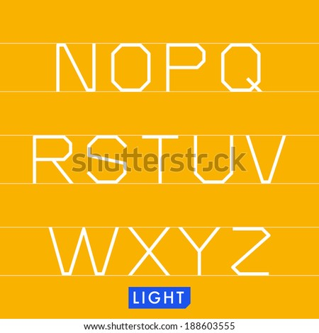 Geometrical monotype typeface based on logic, rationality, geometry and strict adherence to the grid. Modern sans serif display font. Light (thin) version. - stock vector