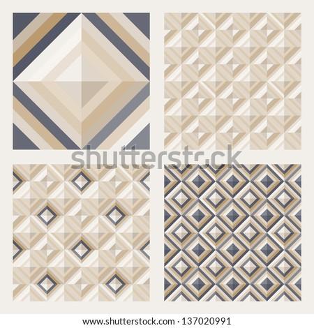 Geometrical pattern in dark gray&golden colors, seamless vector background for floor tiles, fashion, design. - stock vector