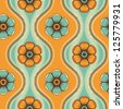 Geometrical pattern with flowers in green and orange colors, seamless vector background. For fashion textile, cloth, backgrounds. - stock vector